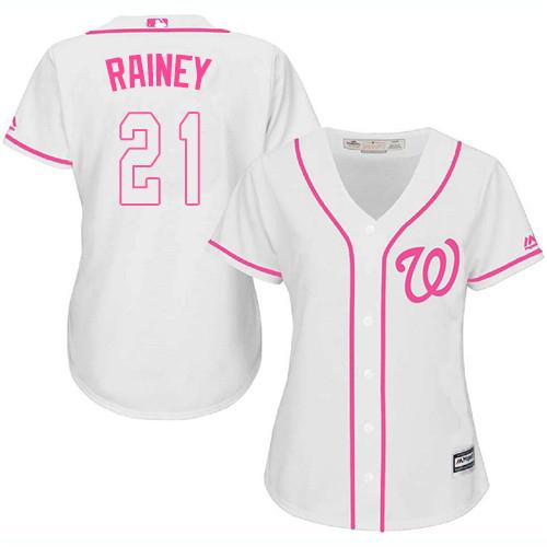 Nationals #21 Tanner Rainey White/Pink Fashion Women's Stitched MLB Jersey