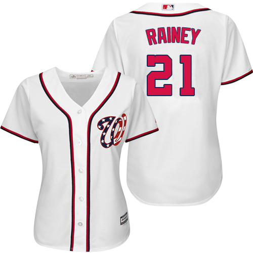 Nationals #21 Tanner Rainey White Home Women's Stitched MLB Jersey
