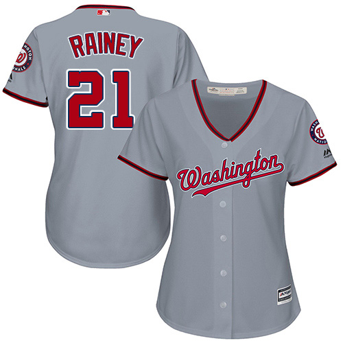 Nationals #21 Tanner Rainey Grey Road Women's Stitched MLB Jersey