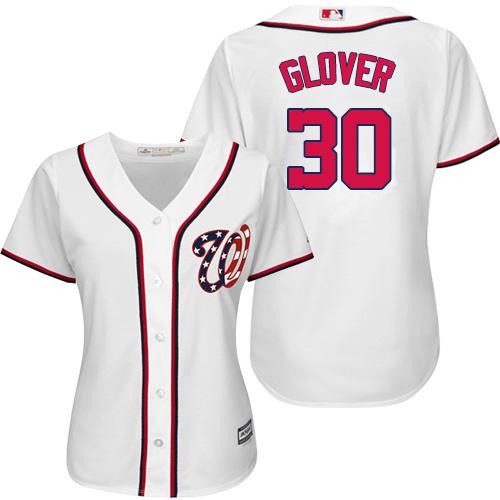 Nationals #30 Koda Glover White Home Women's Stitched MLB Jersey