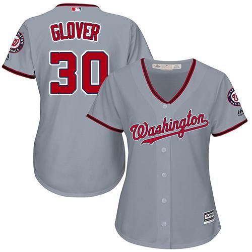 Nationals #30 Koda Glover Grey Road Women's Stitched MLB Jersey