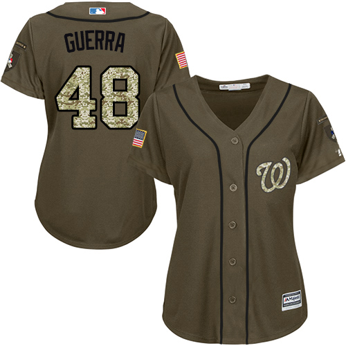 Nationals #48 Javy Guerra Green Salute to Service Women's Stitched MLB Jersey