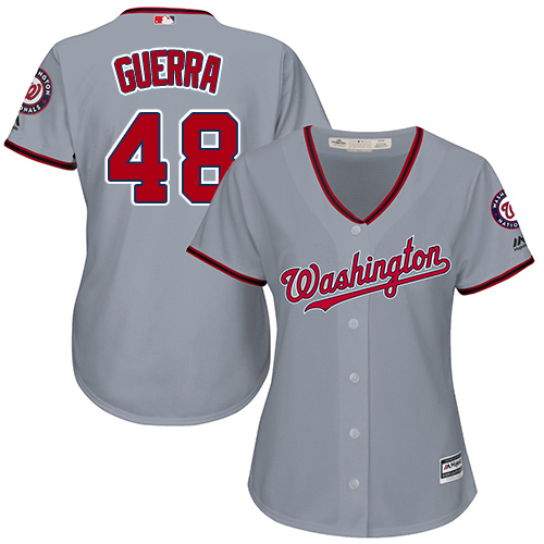 Nationals #48 Javy Guerra Grey Road Women's Stitched MLB Jersey