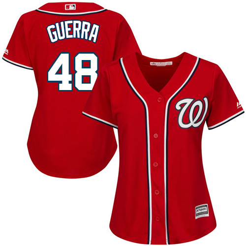 Nationals #48 Javy Guerra Red Alternate Women's Stitched MLB Jersey