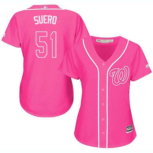 Nationals #51 Wander Suero Pink Fashion Women's Stitched MLB Jersey