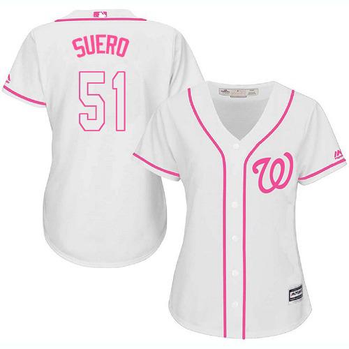 Nationals #51 Wander Suero White/Pink Fashion Women's Stitched MLB Jersey