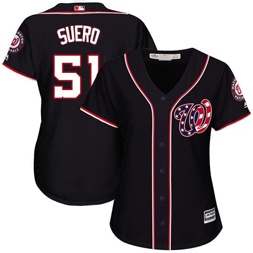 Nationals #51 Wander Suero Navy Blue Alternate Women's Stitched MLB Jersey