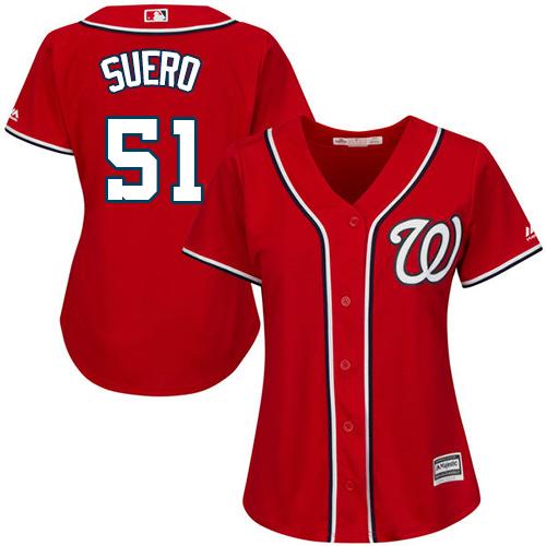 Nationals #51 Wander Suero Red Alternate Women's Stitched MLB Jersey