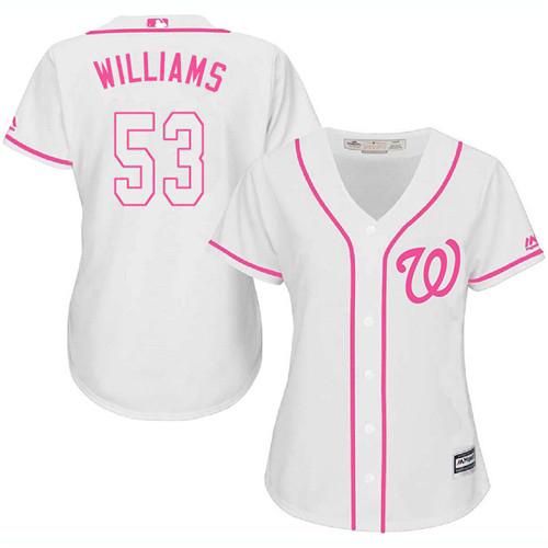 Nationals #53 Austen Williams White/Pink Fashion Women's Stitched MLB Jersey