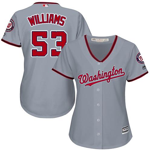 Nationals #53 Austen Williams Grey Road Women's Stitched MLB Jersey