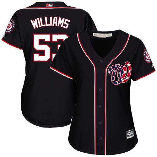 Nationals #53 Austen Williams Navy Blue Alternate Women's Stitched MLB Jersey