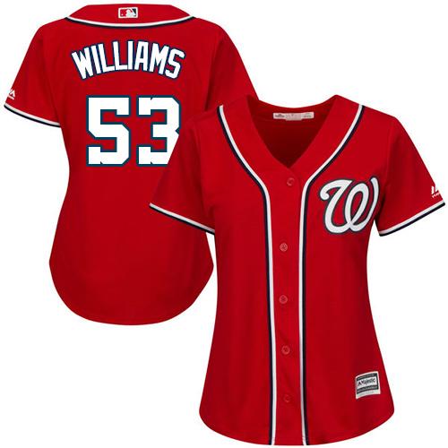 Nationals #53 Austen Williams Red Alternate Women's Stitched MLB Jersey