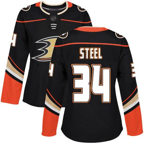 Adidas Ducks #34 Sam Steel Black Home Authentic Women's Stitched NHL Jersey