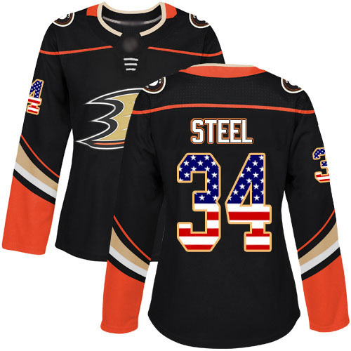 Adidas Ducks #34 Sam Steel Black Home Authentic USA Flag Women's Stitched NHL Jersey