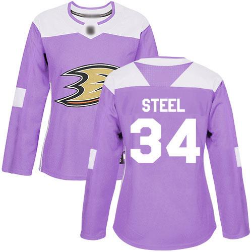 Adidas Ducks #34 Sam Steel Purple Authentic Fights Cancer Women's Stitched NHL Jersey