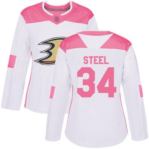 Adidas Ducks #34 Sam Steel White/Pink Authentic Fashion Women's Stitched NHL Jersey
