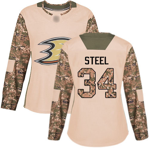 Adidas Ducks #34 Sam Steel Camo Authentic 2017 Veterans Day Women's Stitched NHL Jersey