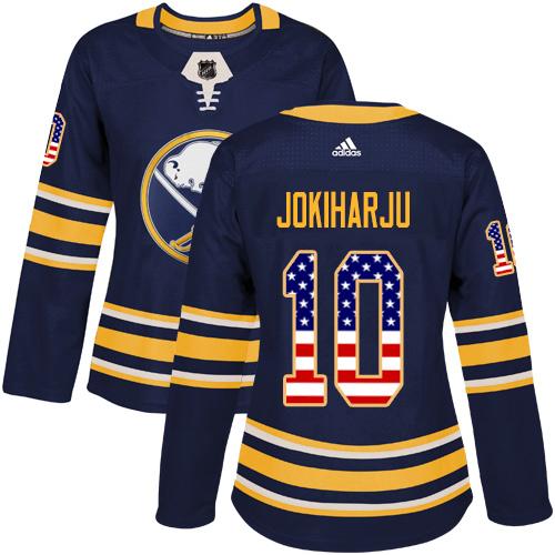 Adidas Sabres #10 Henri Jokiharju Navy Blue Home Authentic USA Flag Women's Stitched NHL Jersey