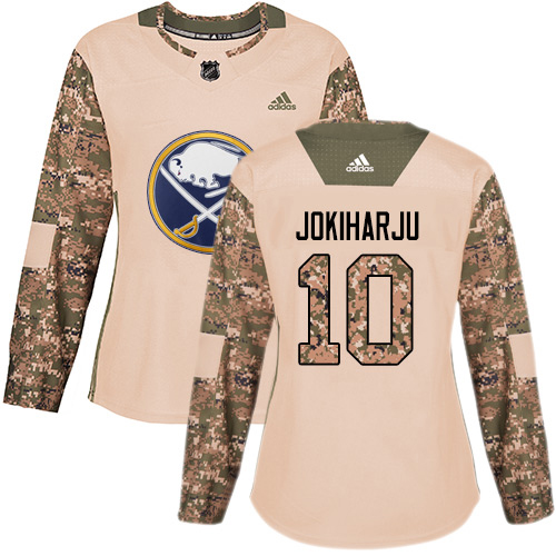 Adidas Sabres #10 Henri Jokiharju Camo Authentic 2017 Veterans Day Women's Stitched NHL Jersey