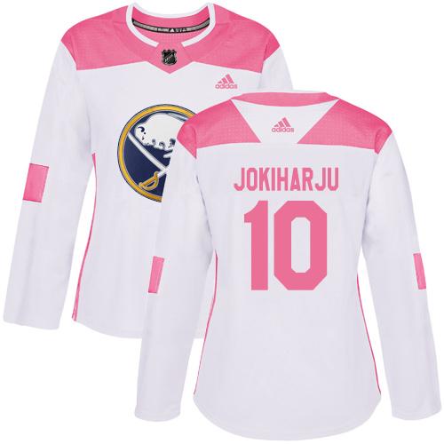 Adidas Sabres #10 Henri Jokiharju White/Pink Authentic Fashion Women's Stitched NHL Jersey