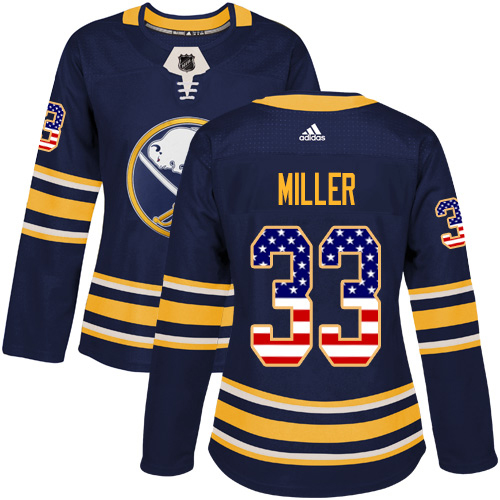 Adidas Sabres #33 Colin Miller Navy Blue Home Authentic USA Flag Women's Stitched NHL Jersey