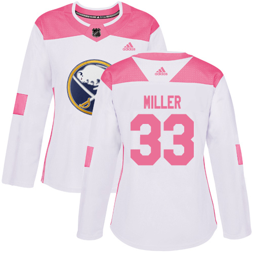 Adidas Sabres #33 Colin Miller White/Pink Authentic Fashion Women's Stitched NHL Jersey
