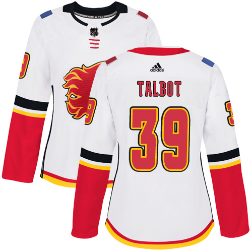 Adidas Flames #39 Cam Talbot White Road Authentic Women's Stitched NHL Jersey