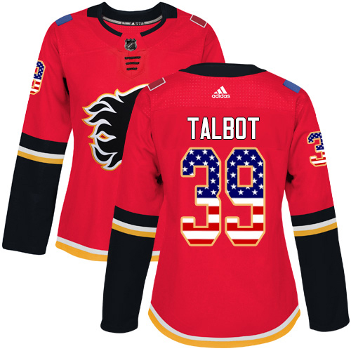 Adidas Flames #39 Cam Talbot Red Home Authentic USA Flag Women's Stitched NHL Jersey