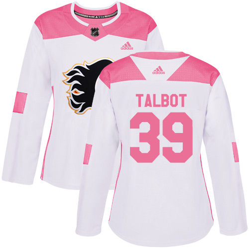 Adidas Flames #39 Cam Talbot White/Pink Authentic Fashion Women's Stitched NHL Jersey