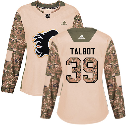 Adidas Flames #39 Cam Talbot Camo Authentic 2017 Veterans Day Women's Stitched NHL Jersey