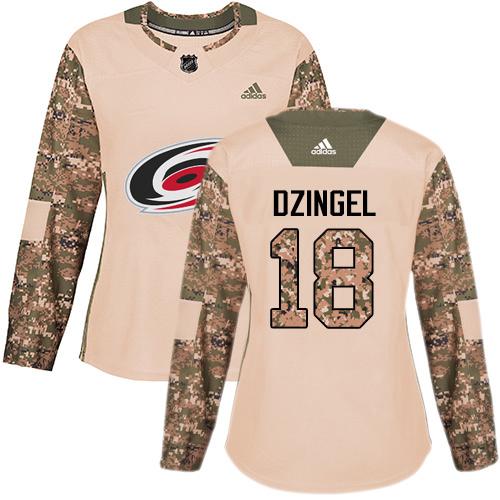 Adidas Hurricanes #18 Ryan Dzingel Camo Authentic 2017 Veterans Day Women's Stitched NHL Jersey