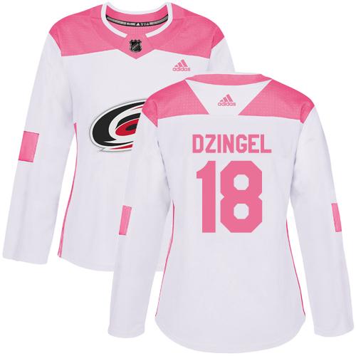 Adidas Hurricanes #18 Ryan Dzingel White/Pink Authentic Fashion Women's Stitched NHL Jersey