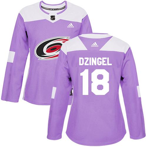 Adidas Hurricanes #18 Ryan Dzingel Purple Authentic Fights Cancer Women's Stitched NHL Jersey