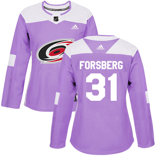 Adidas Hurricanes #31 Anton Forsberg Purple Authentic Fights Cancer Women's Stitched NHL Jersey