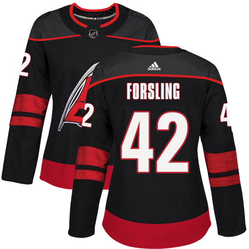 Adidas Hurricanes #42 Gustav Forsling Black Alternate Authentic Women's Stitched NHL Jersey