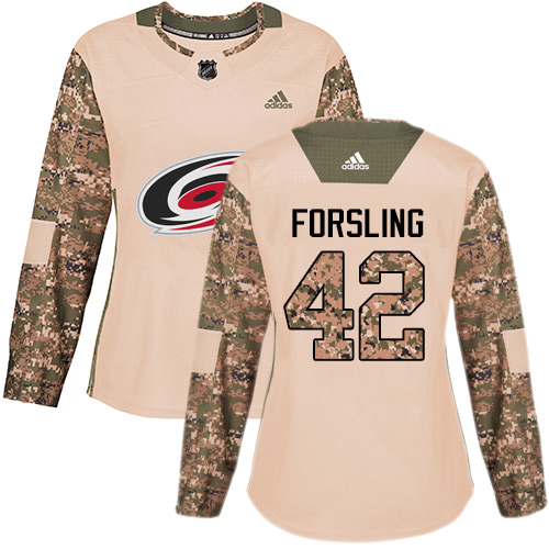 Adidas Hurricanes #42 Gustav Forsling Camo Authentic 2017 Veterans Day Women's Stitched NHL Jersey