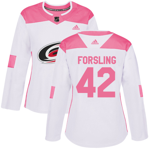 Adidas Hurricanes #42 Gustav Forsling White/Pink Authentic Fashion Women's Stitched NHL Jersey