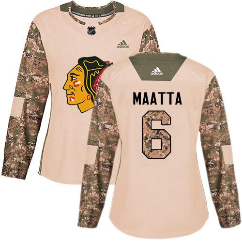 Adidas Blackhawks #6 Olli Maatta Camo Authentic 2017 Veterans Day Women's Stitched NHL Jersey
