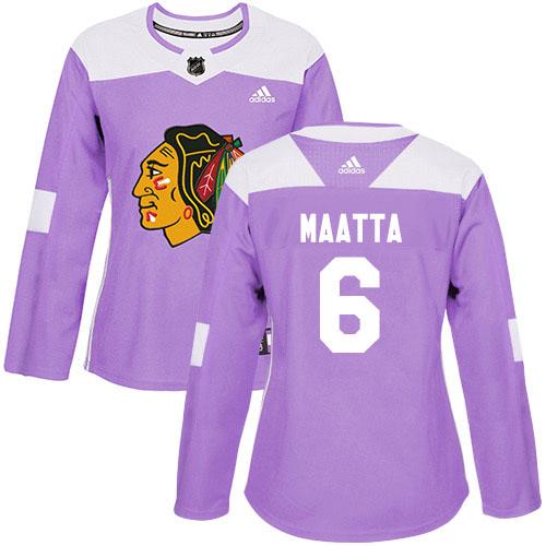 Adidas Blackhawks #6 Olli Maatta Purple Authentic Fights Cancer Women's Stitched NHL Jersey