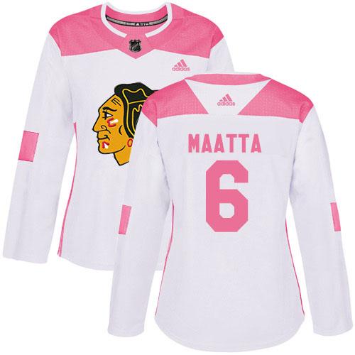 Adidas Blackhawks #6 Olli Maatta White/Pink Authentic Fashion Women's Stitched NHL Jersey