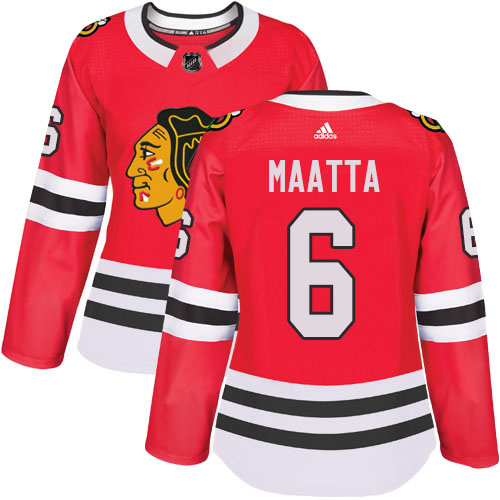 Adidas Blackhawks #6 Olli Maatta Red Home Authentic Women's Stitched NHL Jersey