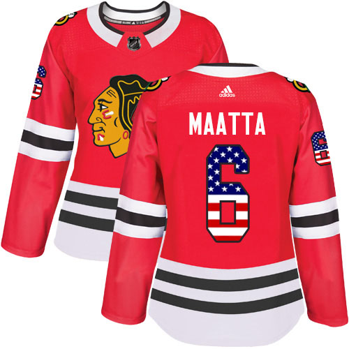 Adidas Blackhawks #6 Olli Maatta Red Home Authentic USA Flag Women's Stitched NHL Jersey