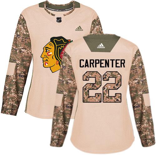 Adidas Blackhawks #22 Ryan Carpenter Camo Authentic 2017 Veterans Day Women's Stitched NHL Jersey