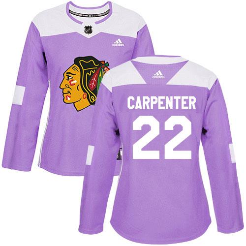 Adidas Blackhawks #22 Ryan Carpenter Purple Authentic Fights Cancer Women's Stitched NHL Jersey