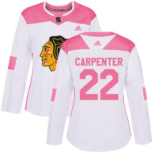 Adidas Blackhawks #22 Ryan Carpenter White/Pink Authentic Fashion Women's Stitched NHL Jersey