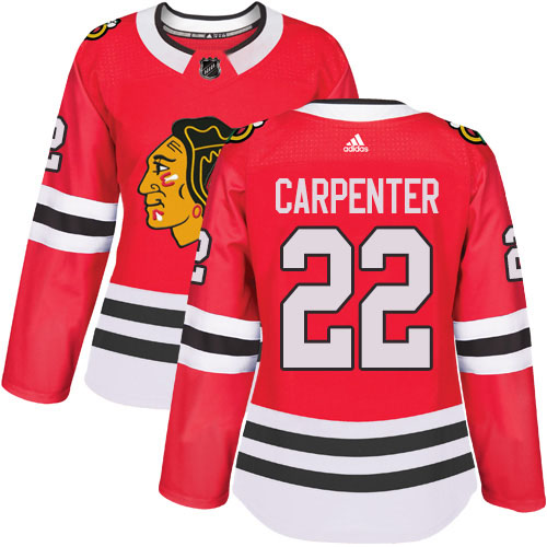 Adidas Blackhawks #22 Ryan Carpenter Red Home Authentic Women's Stitched NHL Jersey