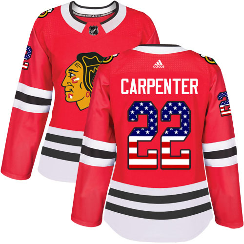 Adidas Blackhawks #22 Ryan Carpenter Red Home Authentic USA Flag Women's Stitched NHL Jersey