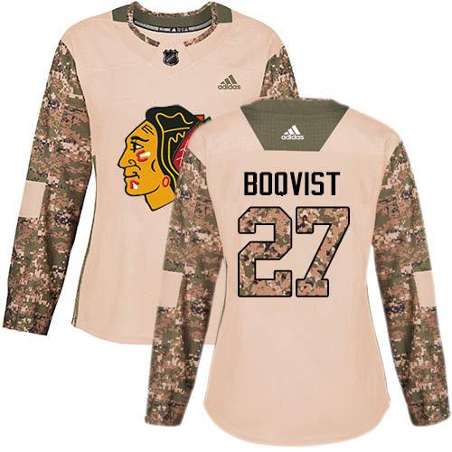 Adidas Blackhawks #27 Adam Boqvist Camo Authentic 2017 Veterans Day Women's Stitched NHL Jersey
