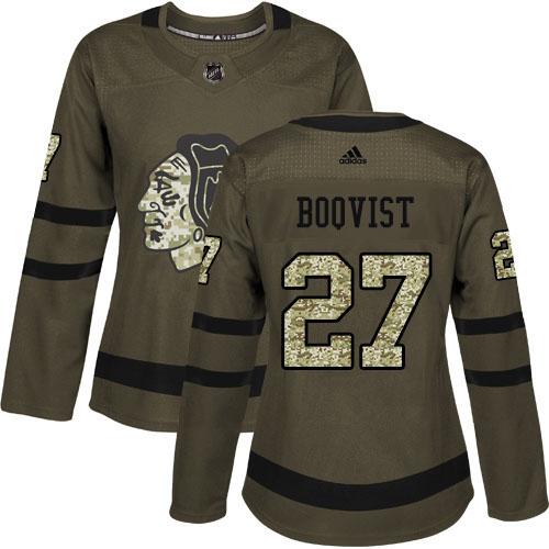 Adidas Blackhawks #27 Adam Boqvist Green Salute to Service Women's Stitched NHL Jersey