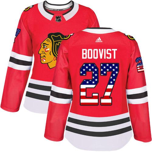 Adidas Blackhawks #27 Adam Boqvist Red Home Authentic USA Flag Women's Stitched NHL Jersey